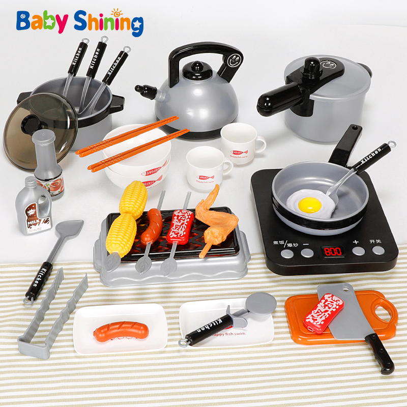 Baby Shining Kitchen Toy Pretend Play Toys  Baby Cut Fruit Set Cooking Kitchen Boys and Girls 3-6 Years Kids Kitchen Set