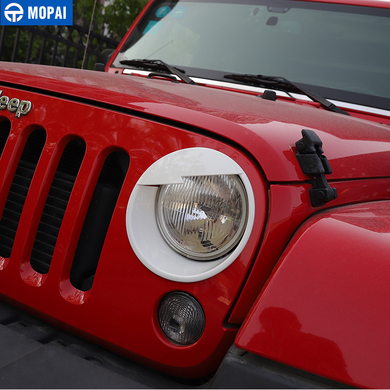 Image 5 - MOPAI Car Front Headlight Head Light Lamp Decoration Cover Exterior Stickers for Jeep Wrangler JK 2007 2016 Car Styling-in Lamp Hoods from Automobiles & Motorcycles