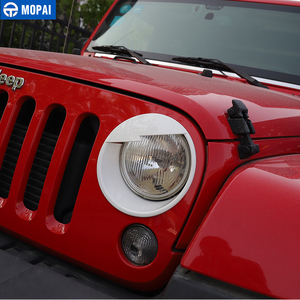 Image 5 - MOPAI Car Front Headlight Head Light Lamp Decoration Cover Exterior Stickers for Jeep Wrangler JK 2007 2016 Car Styling