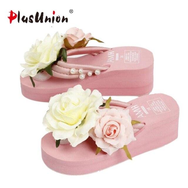 4a4c03370 Plusunion pink lady summer flower cunha slides sandálias sapatos mulher  Plataforma legal fêmea macio não-