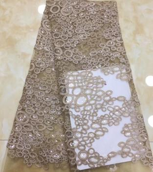best quality SYJ-3312  african tulle mesh lace fabric embroidery lace fabric 5yards with sequins