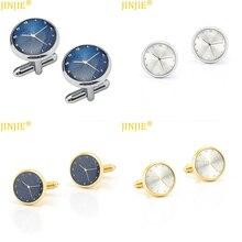 High Quality 1pair watch clock shape Round Cloth Cufflinks For Business Shirt