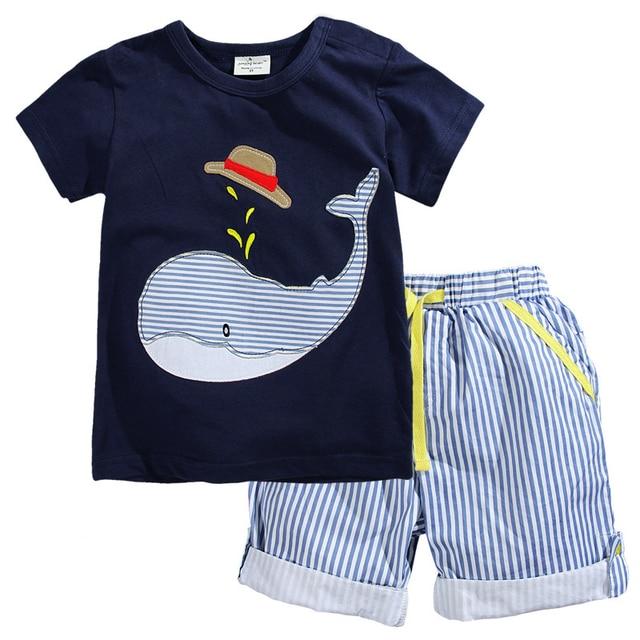 2017 Новый Летний Детская Одежда Детская Одежда Baby Boy Одежда Набор Малышей Мальчики Одежда Набор Хлопок Вязаный Полосатые Шорты