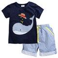 2017 Nuevo Verano Para Niños Ropa Para niños Ropa Del Bebé Del Niño de Los Bebés Ropa Set de Punto de Algodón Pantalones Cortos de Rayas