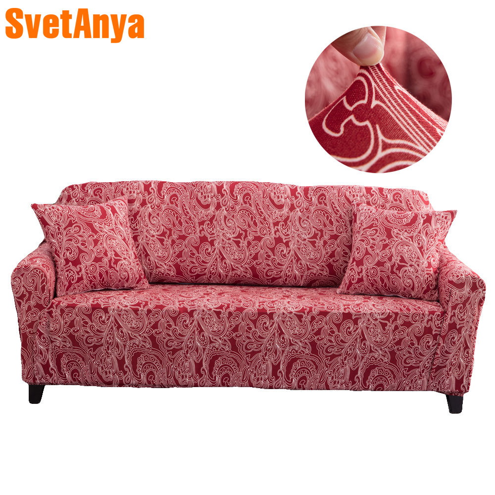 2018 Red Bohemian Paisley Print Sofa Cover Slipcover