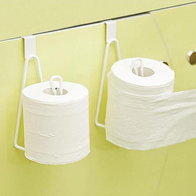Door Back Roll Paper Hanger Rack Toilet Metal Tissue Hanging Holder Bathroom Iron Towel Cabinet Storage Shelf E