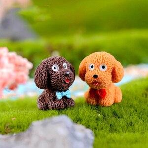 Image 3 - 4 adet/grup Teddy Köpek Minyatür Heykelcik Sevimli karikatür Figürleri hayvan modelleri Pet oyuncak DIY Aksesuarları Bebek Evi oyuncak Dekorasyon