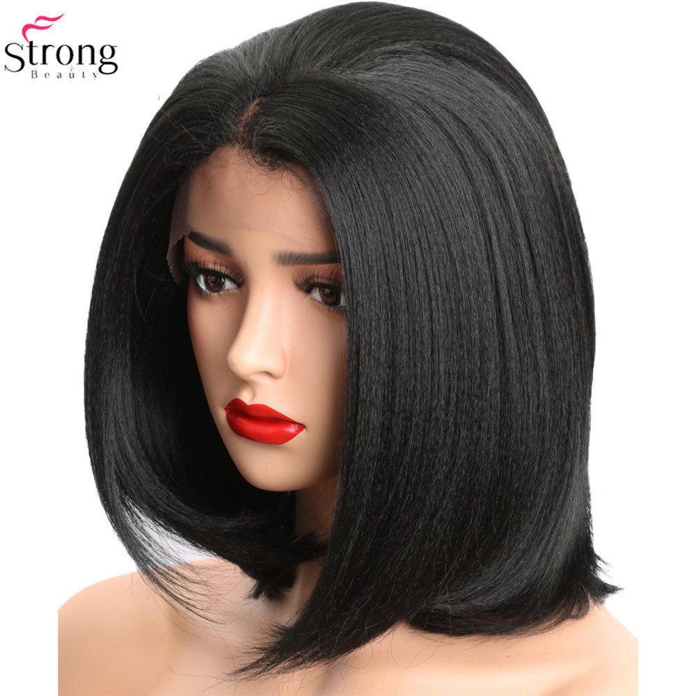 StrongBeauty Lace Front Wigs for women Yaki Straight Hair Black Synthetic lace Wig Bob