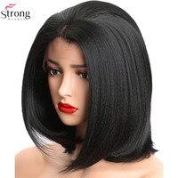 StrongBeauty Spitze Vorne Perücken für frauen Yaki Gerade Haar Schwarz Synthetische spitze Perücke Bob|Synthetische Lace-Perücken|Haarverlängerung und Perücken -