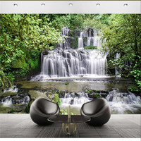 Wall Panel Wallpaper Trees Mountain Waterfall Photography Background Modern Art Mural For Living Room Large Painting