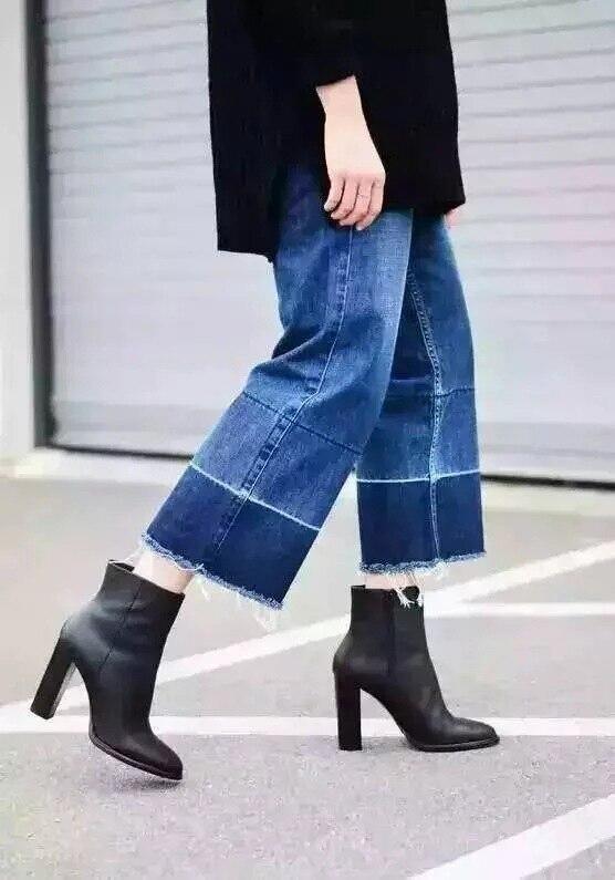 Europe Big Brand Hot Sale Fashion Elegant Women Wide Leg Pants Retro Straight Fight Color Broad-leg Denim Trousers Jeans collins big road atlas europe