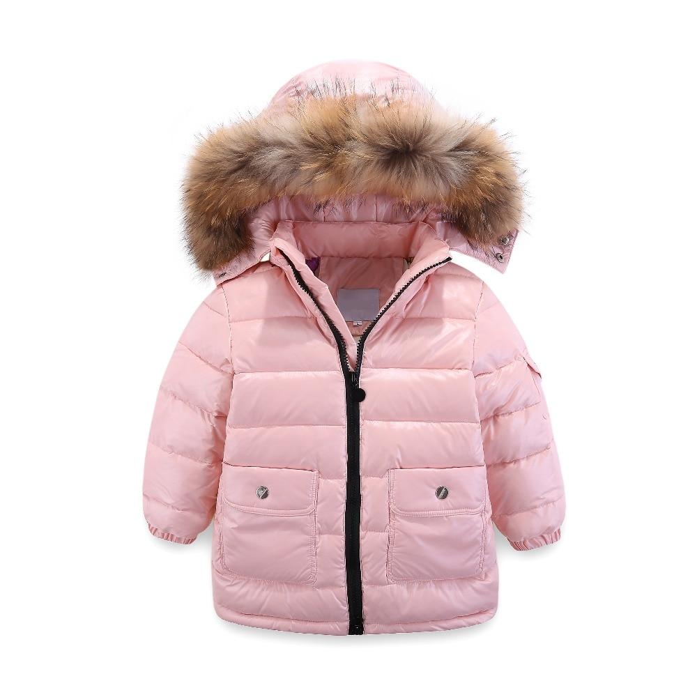 8607d2332 Kids Girls Boys White Duck Down Coat Overalls Set Winter Clothing ...
