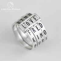Lotus Fun Moment Real 925 Sterling Silver Natural Fashion Jewelry Rotatable Ring Can Make Different Words Rings for Women Bijoux