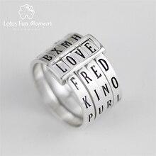 Lotus Fun Moment Real 925 스털링 실버 자연 패션 쥬얼리 회전식 반지는 여성을위한 다른 단어 반지를 만들 수 있습니다 Bijoux