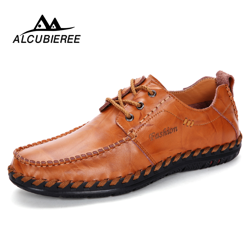 ALCUBIEREE Men Casual Shoes Leather Lace-up Men Shoes High Quality Comfortable Summer Zapatos Hombre shoes men fashion men casual shoes plus size 47 genuine leather men flat shoes best quality zapatos hombre lace up chaussure