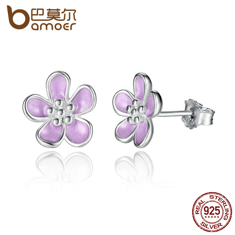 BAMOER Romantic 925 Sterling Silver Cherry Blossom Stud Earrings, Purple Enamel Earrings for Women Fine Jewelry PAS454 цена