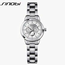 SINOBI Fashion Brand Quartz Watch Women Stainless Steel Watchband Ladies Quartz-watch Geneva Clock Female Dress Wristwatch