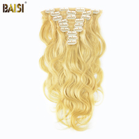 BAISI Brazilian Remy hair Clip in Full Head Human Hair Extensions Body Wave Blonde Color 9pcs/Set 120G 14 22inch Free Shipping
