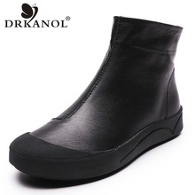 DRKANOL Autumn Winter Genuine Leather Flat Ankle Boots For Women Warm Boots Side Zipper Soft Comfortable Cow Leather Botas H8066