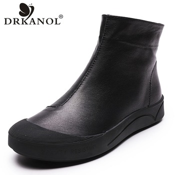 DRKANOL Autumn Winter Genuine Leather Flat Ankle Boots For Women Warm Boots Side Zipper Soft Comfortable Cow Leather Botas H8066 prova perfetto black ankle boots for women rivets studded flat autumn botas mujer genuine leather platform rubber martin boots