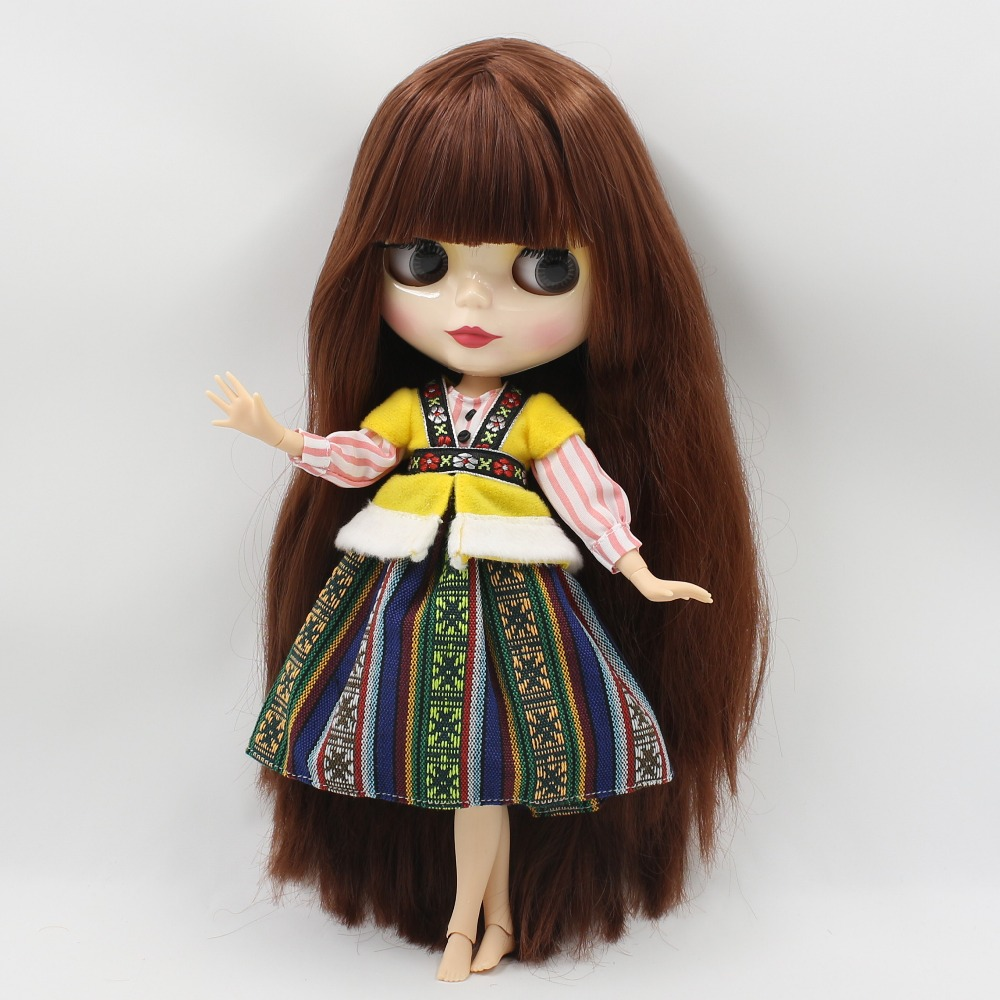 Free shipping blyth doll icy licca QN1742 straight hair with bangs/fringes joint body 1/6 30cm bjd neo gift toy 1pair shoessuitable for 1 6 doll normal doll joint doll bjd blyth icy jecci five licca body for 30cm doll shoes