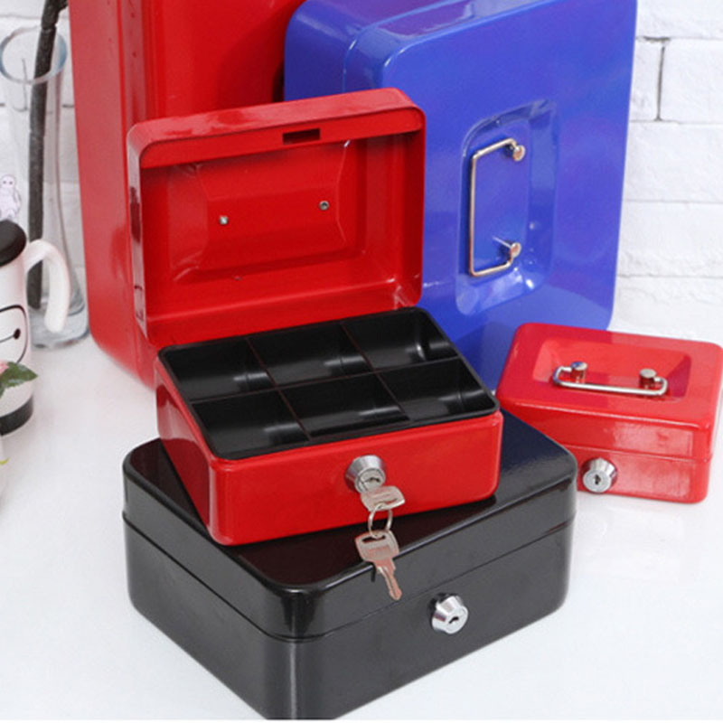 Steel Safe Box Key Lock Money Jewelry Storage Security Box For Home School Office With Compartment Tray Lockable Safes Size XL giantree portable money box 6 compartments coin steel petty cash security locking safe box password strong metal for home school