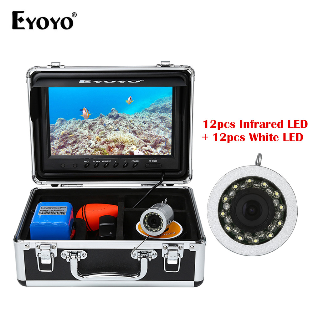 EYOYO WF09 Full Silver 9 30M 24pcs Infrared and White LED Fish Finder Underwater Video Recording