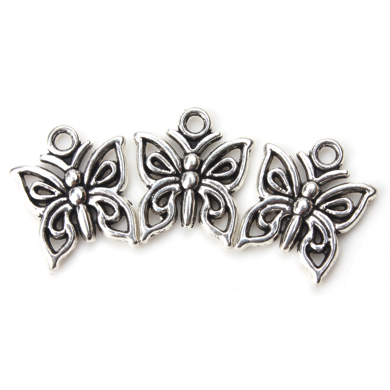 10pcs/lot 15mm x 12mm Small Butterfly Charms Antique Silver Tone  for diy jewelry necklace pendant accessories findings