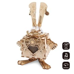 Image 5 - Robotime diy caixa de música relógio de madeira robôs criativos casa coelho barco mesa decoração presentes para crianças namorado am