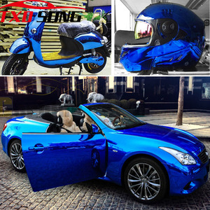 Image 1 - 7 tamanhos de alta stretchable azul escuro chrome espelho vinil envoltório azul escuro cromo espelho vinil folha filme adesivo do carro decalque folha
