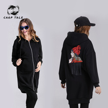 Womens Pregnancy Coat Plus Velvet Thickening Hooded Cartoon Shirt Fashion Maternity Dress Long-sleeved Cardigan Clothing