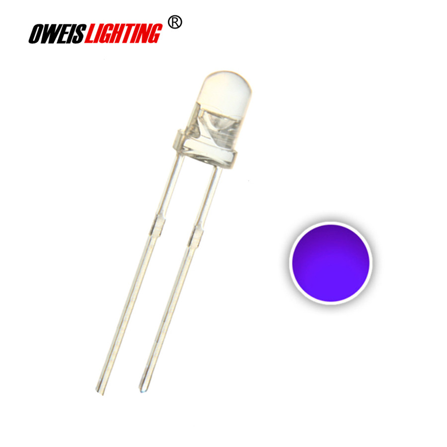 100pcs 3mm UV LED Purple Water Clear Round Head 3 Mm Ultraviolet 395nm - 400nm Light Beads Lamp Ultra Bright