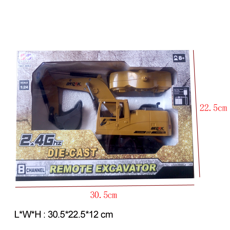8CH Simulation RC excavator toys with Music and light Children's Boys RC truck toys gifts RC Engineering car tractor brinquedos 4