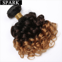 Spark 1b/4/27 Ombre Peruvian Bouncy Curly Hair 1 Piece 3 Tone Remy Human Hair Extensions 8″-26″ Hair Weave Bundles Free Shipping
