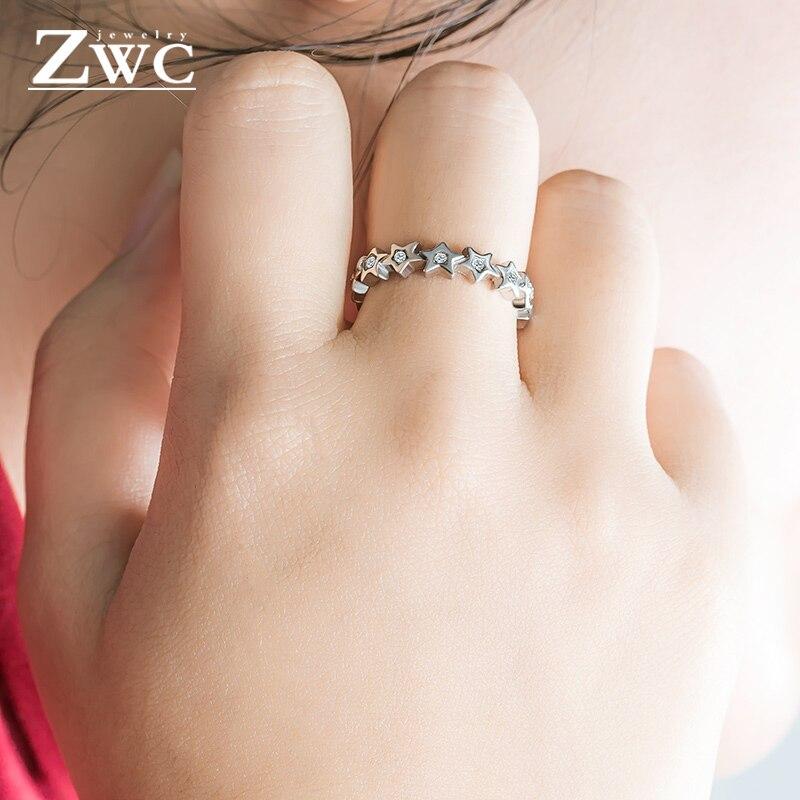 ZWC Мода Шарм-звезда Циркон из нержавеющей стали кольца для мужчин и женщин Свадебные обручальные женские кристаллы кольцо унисекс ювелирные изделия