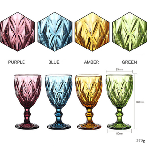 Image 3 - Wine Glass Cups Multicolor Carved Goblet Whiskey Red Wine Glasses 300ML Wedding Party Champagne Flutes Bar Restaurant Home Tools