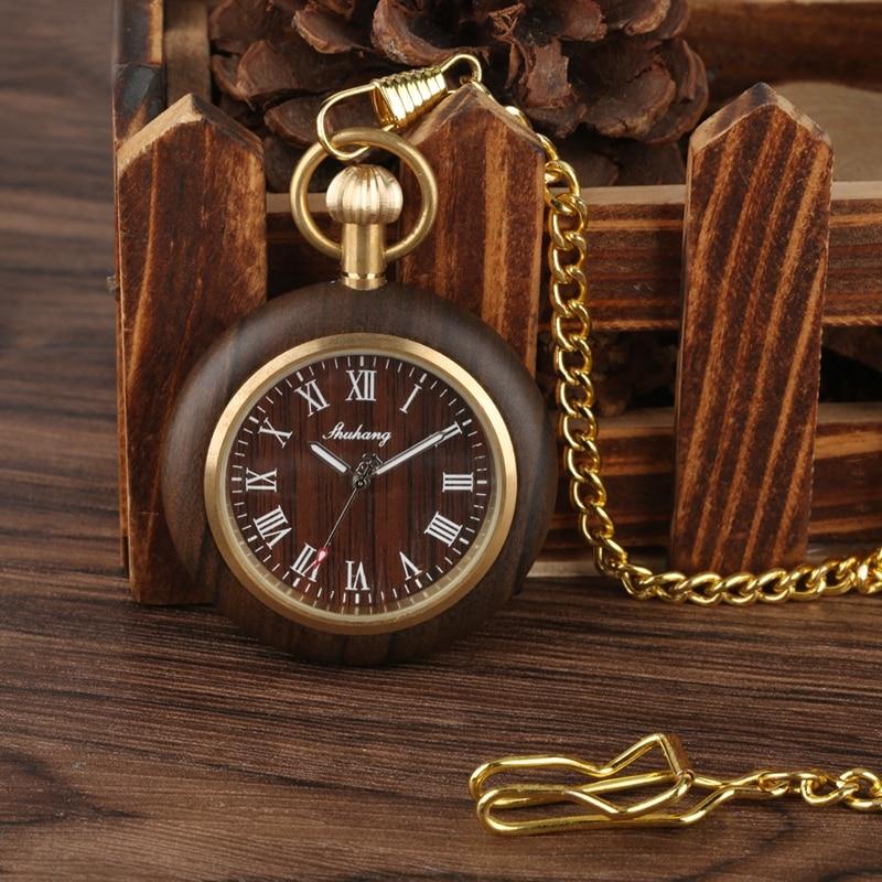 Creative Wood Watch Men Pocket Watches Retro Walnut Wood Case Standard Round Dial Jewelry Quartz Clock Hours Art Collectibles