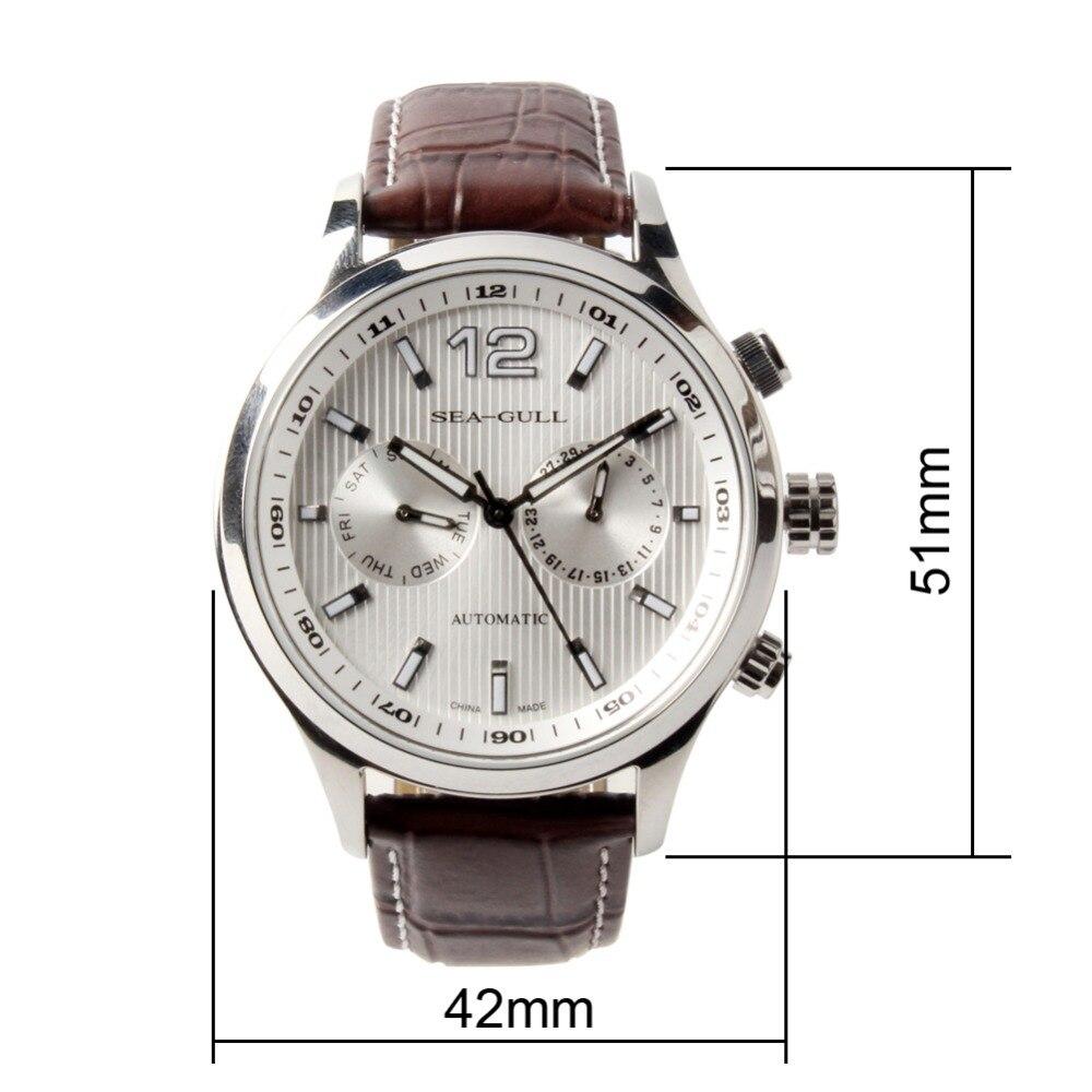 새로운 도착 갈매기 데이 날짜 듀얼 타임 존 gmt guilloche 빛나는 손 전시 뒤로 자동 남자 시계 바다 갈매기-에서기계식 시계부터 시계 의  그룹 3