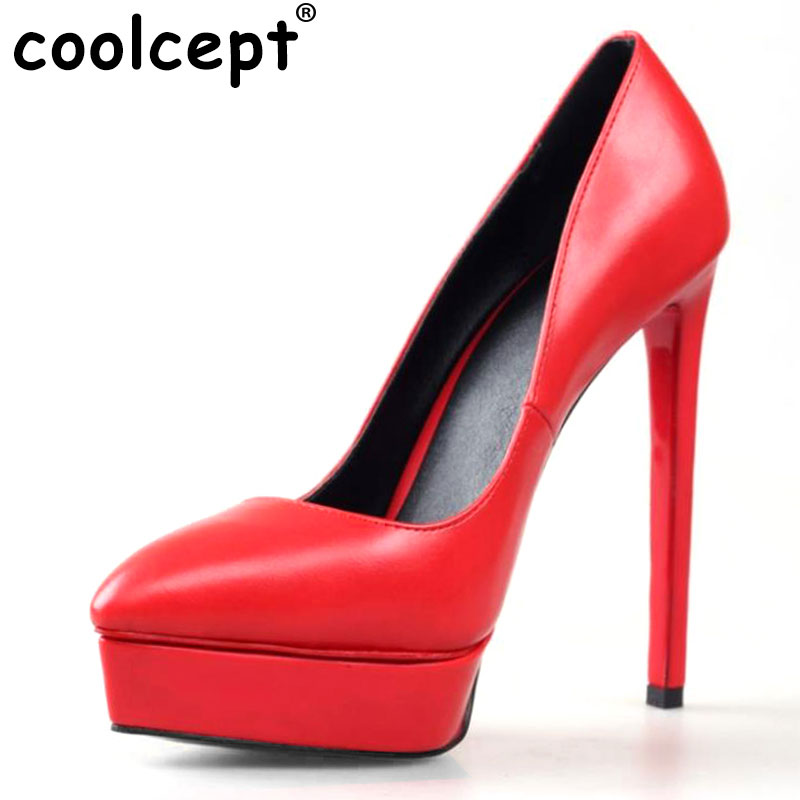 Coolcept Size 35-42 Women Platform High Heel Shoes Stiletto Quality Heeled Pumps Ladies Fashion Sexy Gladiator Shoes R08749 size 35 42 women s platform high heel shoes stiletto brand quality heeled pumps ladies fashion sexy gladiator shoes r08753