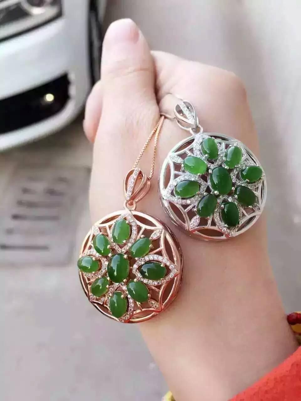 Natural green jasper pendant S925 silver Natural Gemstone Pendant Necklace trendy elegant ball round women fine jewelry