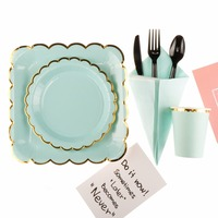 Riscawin Tiffany Blue Paper Plate Birthday Wedding Party Decoration For 10 Packs Disposable Tableware Set Baby