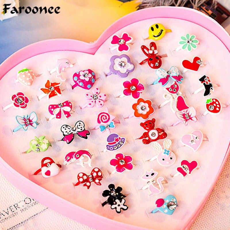 10pcs/Trendy Children Kids Finger Rings Love Sweet Cute Adjustable Cartoon Flower Animal Crystal Ring Fashion Jewelry Girl Gifts