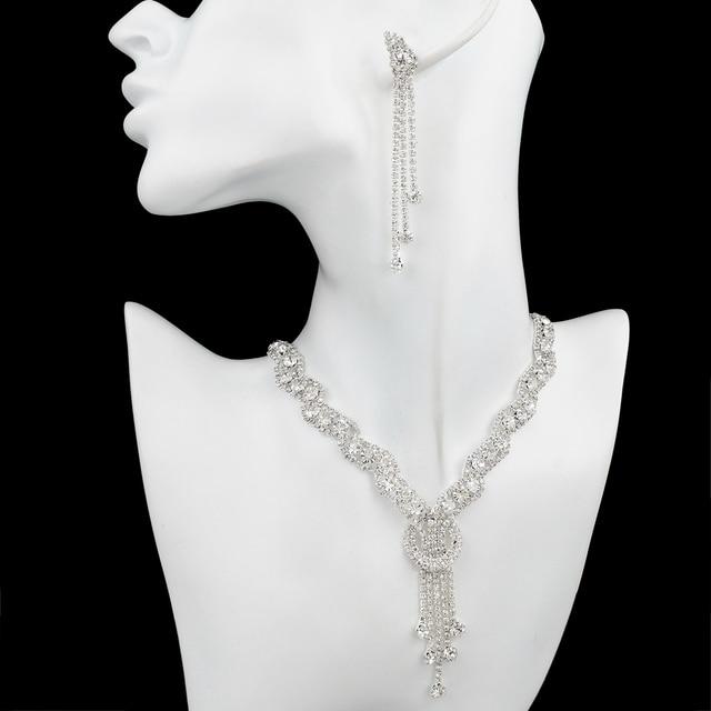 ATTRACTTO Custom Fashion Rhinestone Wedding Jewelry Set Tassel Necklace Earrings For Bridal Elegant Lady's Jewelry Set SET150067 2