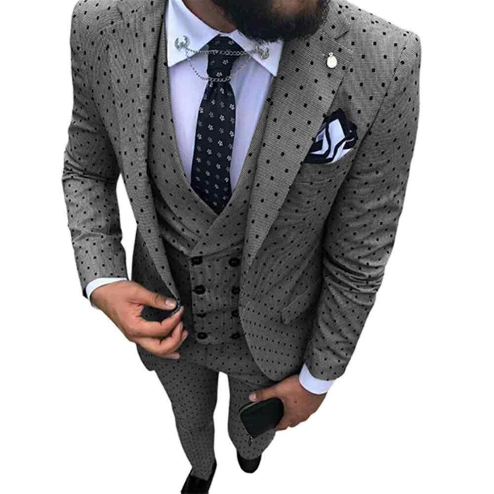 2019 男性の Poika ドットスーツ 3-個最新コートパンツデザイン付添人の結婚式/ パーティー (ブレザー + ベスト + パンツ)