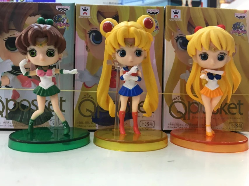 Q Pocket Sailor Moon Usagi Tsukino/ Sailor Mercury Ami Mizuno/ Sailor Mars Hino Rei 3 pcs/team PVC Action Figure Collectible Toy newest mermaid makeup brushes set fantasy eyebrow eyeliner blush blending contour foundation cosmetic beauty make up fish brus