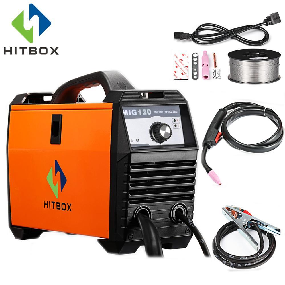 HITBOX Mig Saldatore 220 v MIG120A Flux Animato Filo di Ferro di Saldatura Macchina Formato Portatile DC Mig Strumenti di Saldatura Per saldatura Mig no Gas di Saldatura