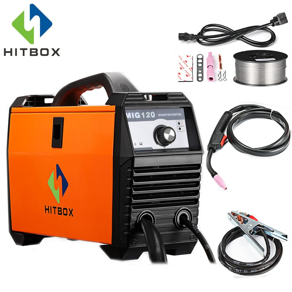 купить HITBOX Mig Welder 220V MIG120A Flux Cored Wire Iron Welding Machine Portable Size DC Mig Welding Tools For Mig No Gas Welding
