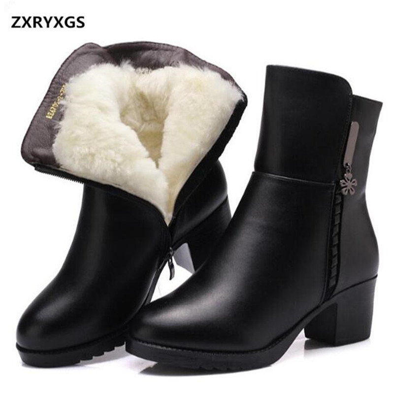 2016 winter shoes genuine leather boots women warm cotton wool Mother Thicken snow boot