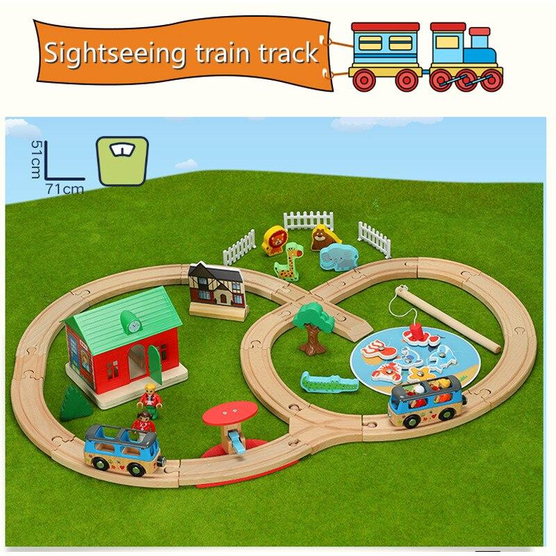 Pêche ferme piste fente Puzzles jeu bois Train chemin de fer jouets compatibles avec Brio Train voies jouets éducatifs pour enfants