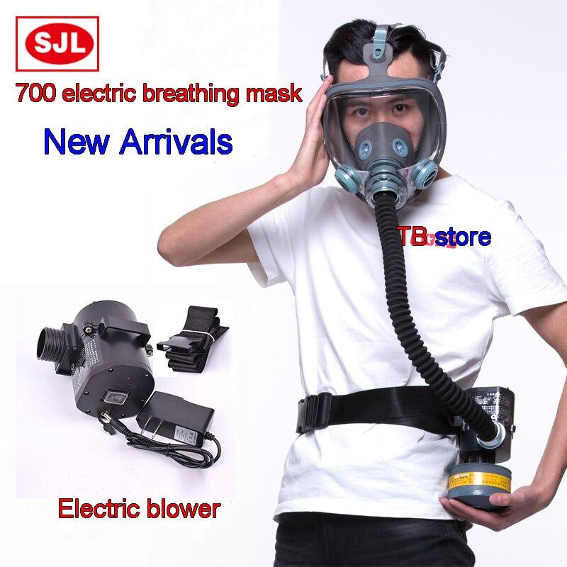 SJL 700 masque Complet + ventilateur Électrique masque Respiratoire masque/Ventilateur/tube de Respiration/chargeur/filtre/ ceinture Combiné masque À Gaz